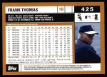 2002 Topps #425  Frank Thomas  Back Thumbnail