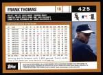 2002 Topps #425  Frank Thomas  Back Thumbnail