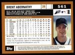 2002 Topps #561  Brent Abernathy  Back Thumbnail
