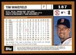 2002 Topps #187  Tim Wakefield  Back Thumbnail