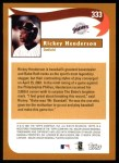 2002 Topps #333   -  Rickey Henderson  Highlights Back Thumbnail