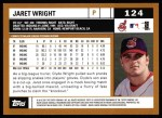 2002 Topps #124  Jaret Wright  Back Thumbnail