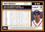 2002 Topps #240  Greg Maddux  Back Thumbnail