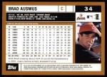 2002 Topps #34  Brad Ausmus  Back Thumbnail