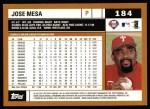 2002 Topps #184  Jose Mesa  Back Thumbnail
