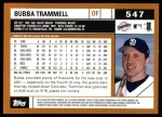 2002 Topps #547  Bubba Trammell  Back Thumbnail