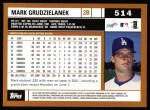 2002 Topps #514  Mark Grudzielanek  Back Thumbnail
