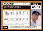 2002 Topps #532  Joe Kennedy  Back Thumbnail