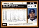 2002 Topps #271  Chan Ho Park  Back Thumbnail