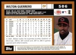 2002 Topps #506  Wilton Guerrero  Back Thumbnail