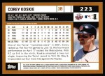 2002 Topps #223  Corey Koskie  Back Thumbnail