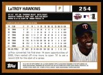 2002 Topps #254  LaTroy Hawkins  Back Thumbnail