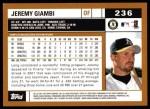 2002 Topps #236  Jeremy Giambi  Back Thumbnail