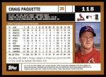 2002 Topps #118  Craig Paquette  Back Thumbnail