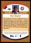 2002 Topps #280  Don Baylor  Back Thumbnail