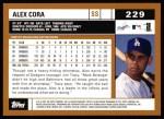 2002 Topps #229  Alex Cora  Back Thumbnail