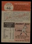 1953 Topps #46  Johnny Klippstein  Back Thumbnail