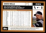 2002 Topps #205  David Wells  Back Thumbnail