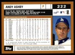 2002 Topps #222  Andy Ashby  Back Thumbnail