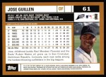 2002 Topps #61  Jose Guillen  Back Thumbnail