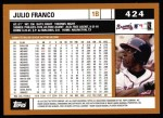 2002 Topps #424  Julio Franco  Back Thumbnail
