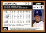 2002 Topps #109  Luke Prokopec  Back Thumbnail