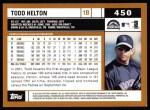 2002 Topps #450  Todd Helton  Back Thumbnail