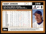 2002 Topps #200  Randy Johnson  Back Thumbnail