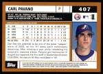 2002 Topps #407  Carl Pavano  Back Thumbnail