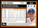 2002 Topps #21  Mike Sweeney  Back Thumbnail
