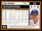 2002 Topps #21  Mike Sweeney  Back Thumbnail