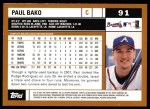 2002 Topps #91  Paul Bako  Back Thumbnail