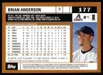 2002 Topps #177  Brian Anderson  Back Thumbnail