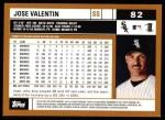 2002 Topps #82  Jose Valentin  Back Thumbnail