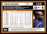 2002 Topps #150  Carlos Delgado  Back Thumbnail