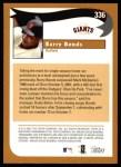 2002 Topps #336   -  Barry Bonds  Highlights Back Thumbnail