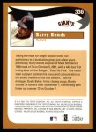 2002 Topps #336   -  Barry Bonds  Highlights Back Thumbnail