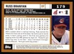 2002 Topps #179  Russell Branyan  Back Thumbnail