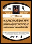 2002 Topps #278  Jerry Manuel  Back Thumbnail