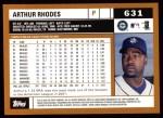 2002 Topps #631  Arthur Rhodes  Back Thumbnail