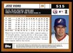 2002 Topps #515  Jose Vidro  Back Thumbnail