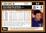 2002 Topps #59  Jose Cruz Jr.  Back Thumbnail