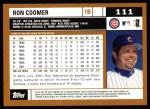 2002 Topps #111  Ron Coomer  Back Thumbnail