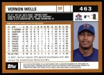 2002 Topps #463  Vernon Wells  Back Thumbnail