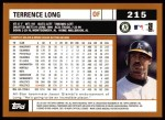 2002 Topps #215  Terrence Long  Back Thumbnail