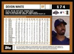 2002 Topps #174  Devon White  Back Thumbnail