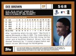 2002 Topps #568  Dee Brown  Back Thumbnail