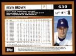 2002 Topps #630  Kevin Brown  Back Thumbnail