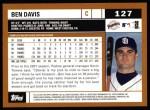 2002 Topps #127  Ben Davis  Back Thumbnail