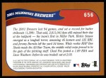 2002 Topps #656   Milwaukee Brewers Back Thumbnail